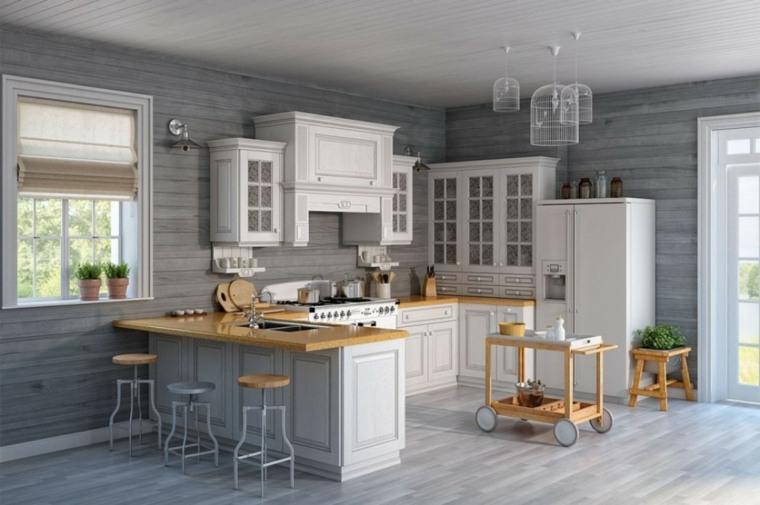 cocina americana-blanco-madera