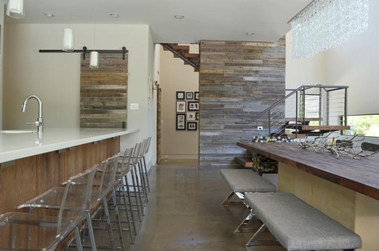 pared acento listones madera