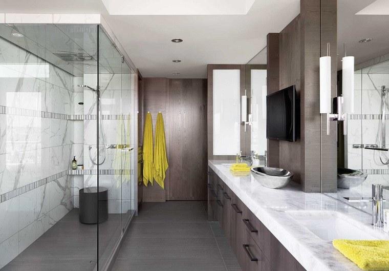 cuartos de baño modernos-diseno-ducha-dos-lavabos