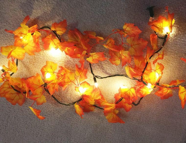 decoracion con hojas secas-luces