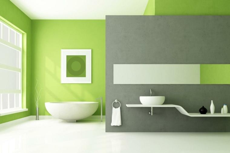 decoracion interior-color-verde-bano