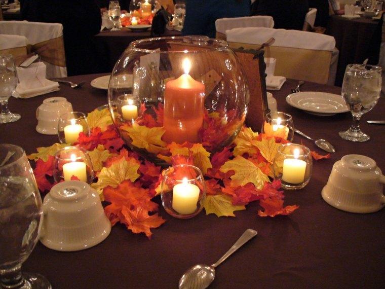 decoracion otono-mesa-hojas-velas