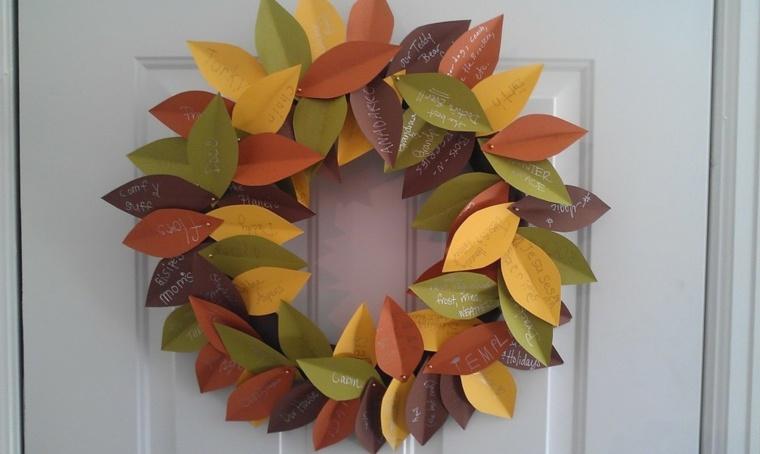 decoracion puerta otono-hojas