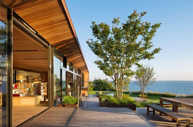 diseños de casas modernas-opciones-jardin-trasero