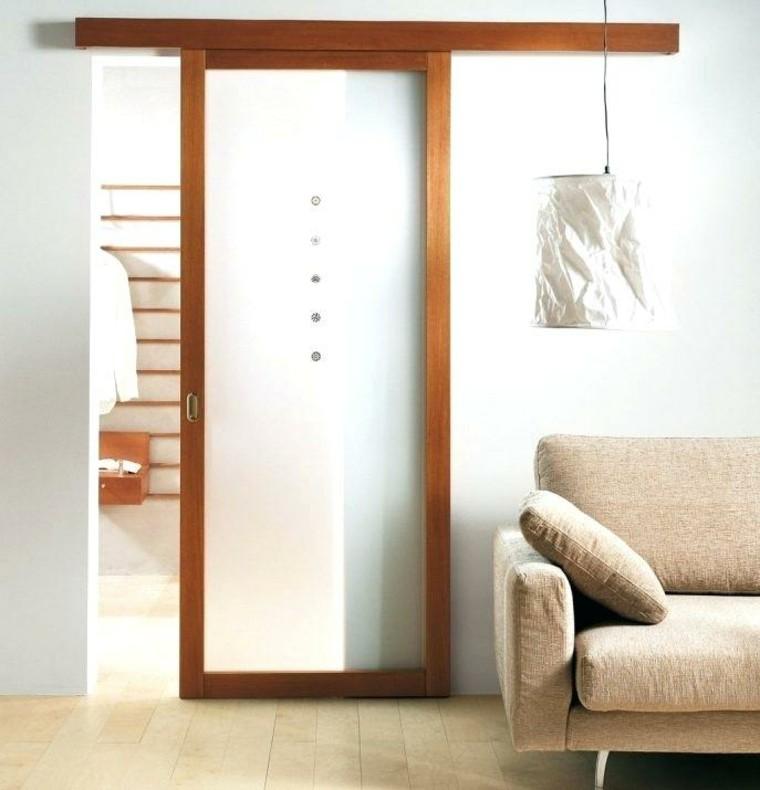 puerta corredera madera vidrio