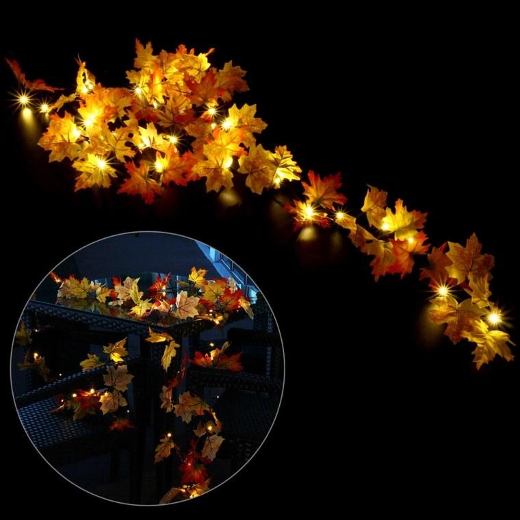 hojas de decoracion secas-luces