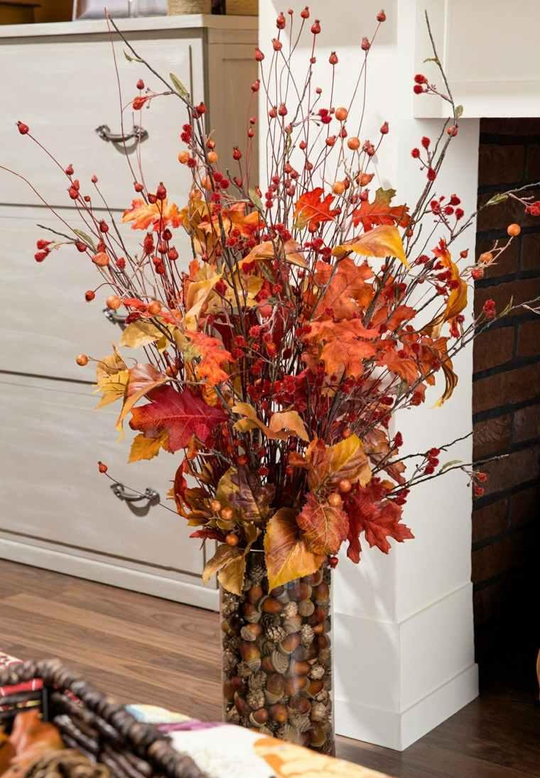 hojas de otono para decorar-jarrones