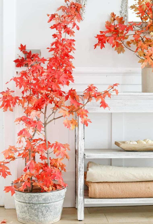 hojas de otono para decorar-macetas
