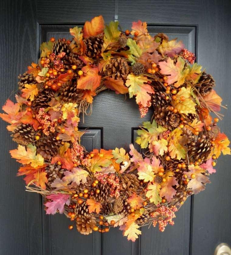 hojas de otono para decorar-puerta