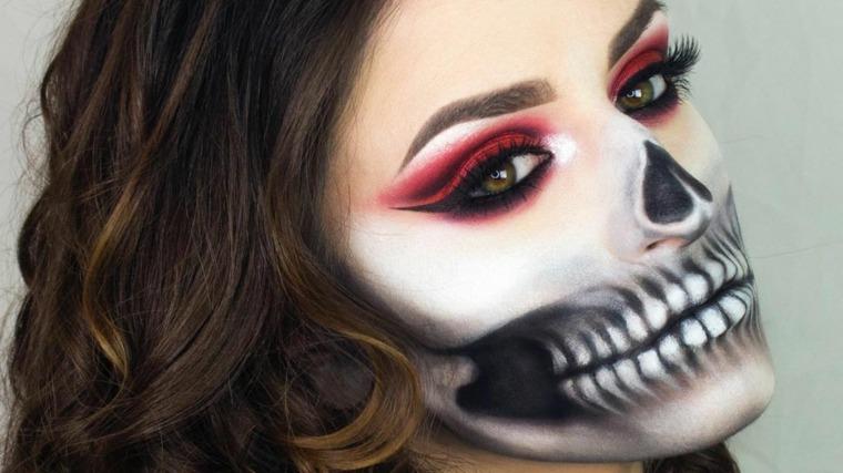 maquillaje-de-dia-de-muertos-calavera-blanco-negro