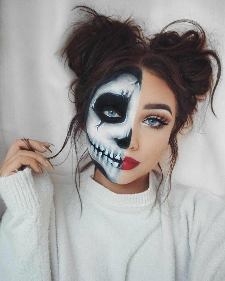 maquillaje de día de muertos-cara-dividida-dos