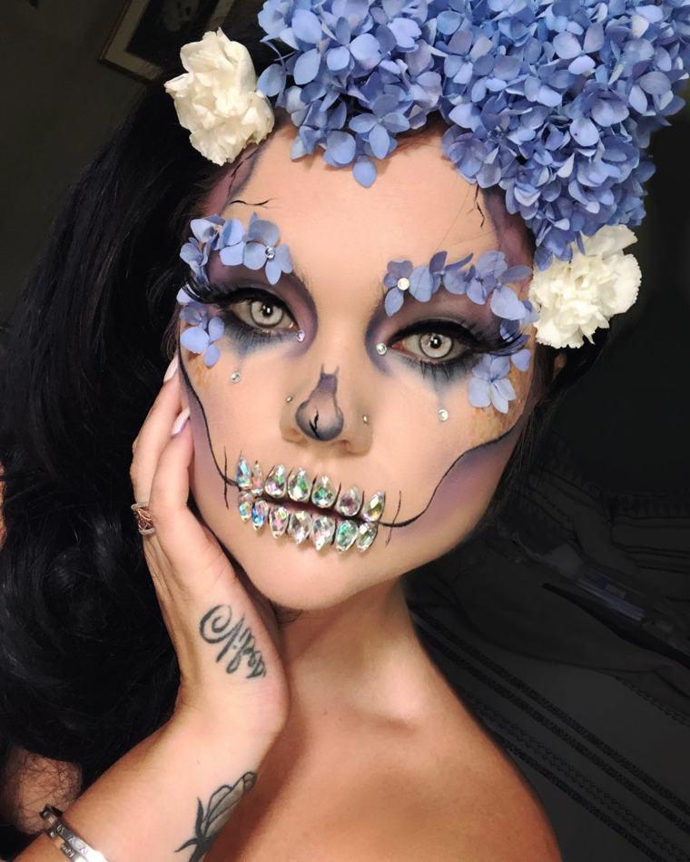 maquillaje de día de muertos-dientes-brillantes
