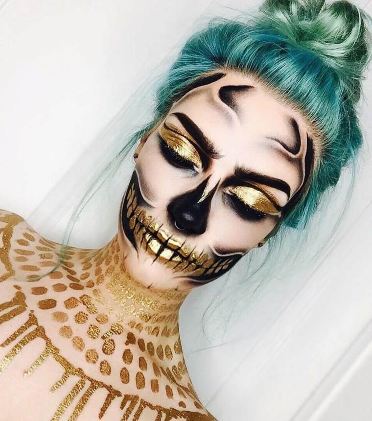 maquillaje de día de muertos-elementos-oro-calavera