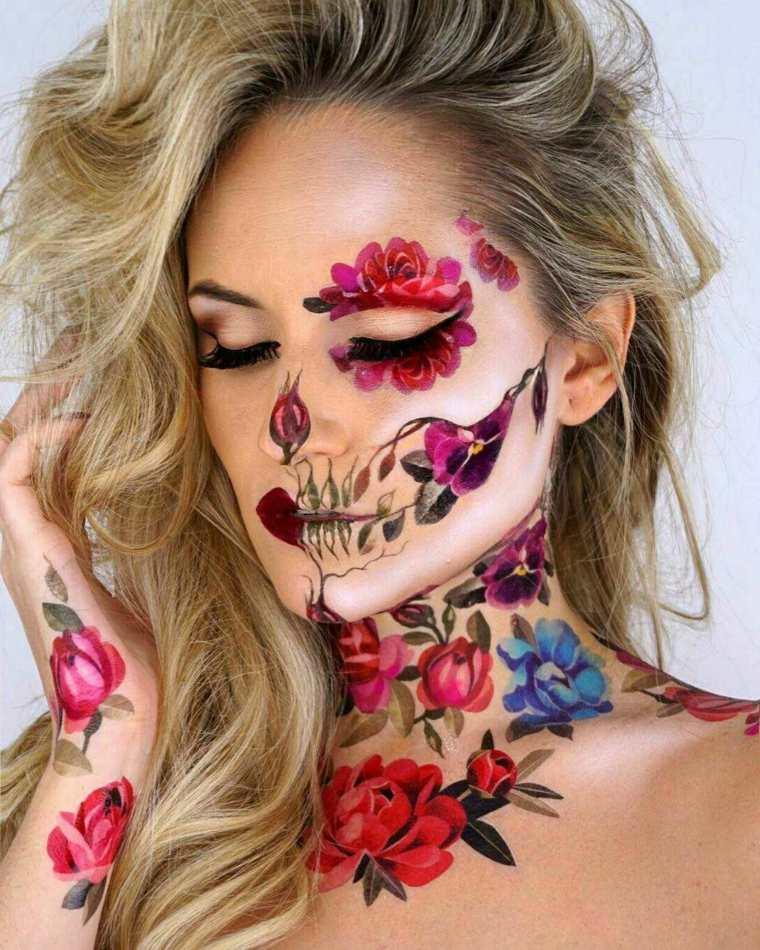 maquillaje de día de muertos-flores-colores-estilo