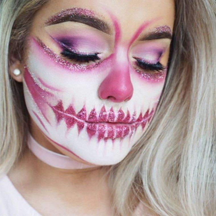maquillaje-halloween-calavera-rosa-blanco-rostro-ideas