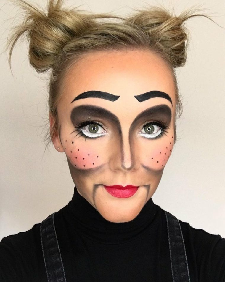 maquillaje-halloween-muneca-cabello-recogido