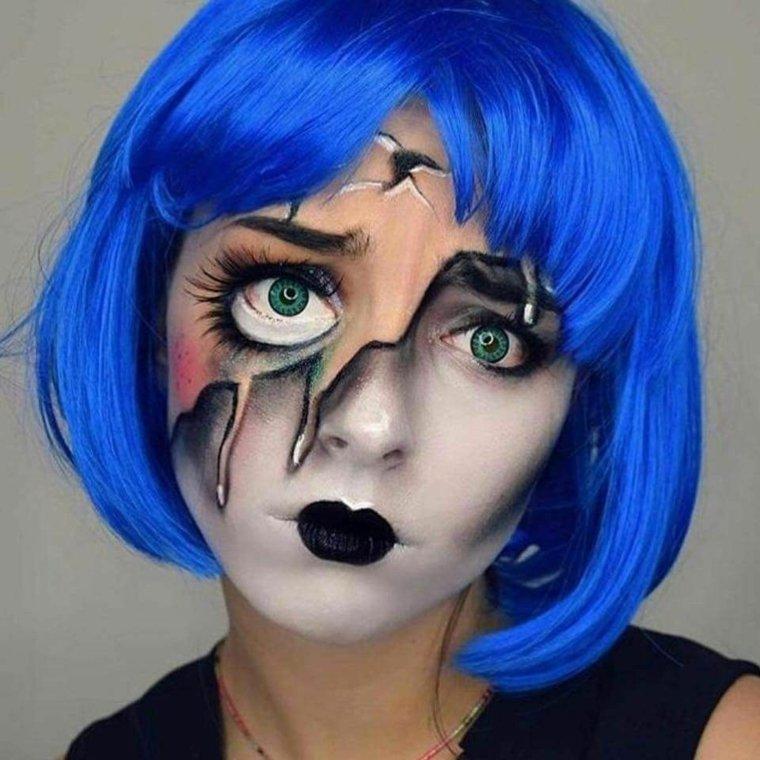 maquillaje-halloween-muneca-ideas-peluca-azul
