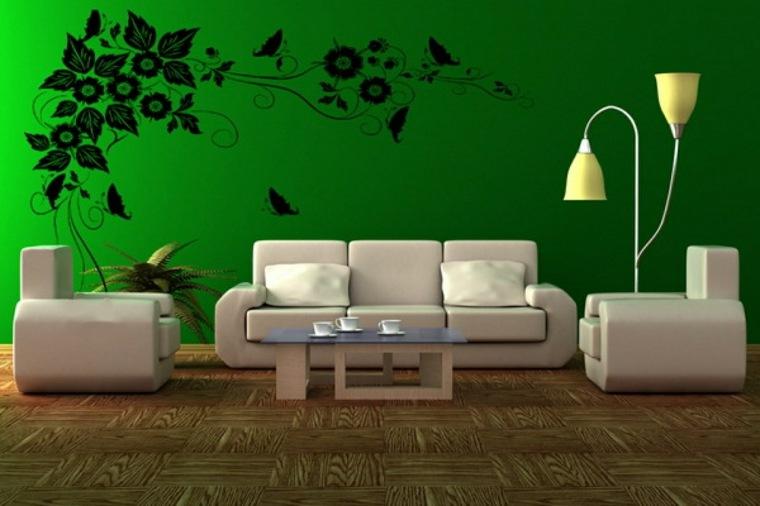 piso verde decoracion-paredes-salon