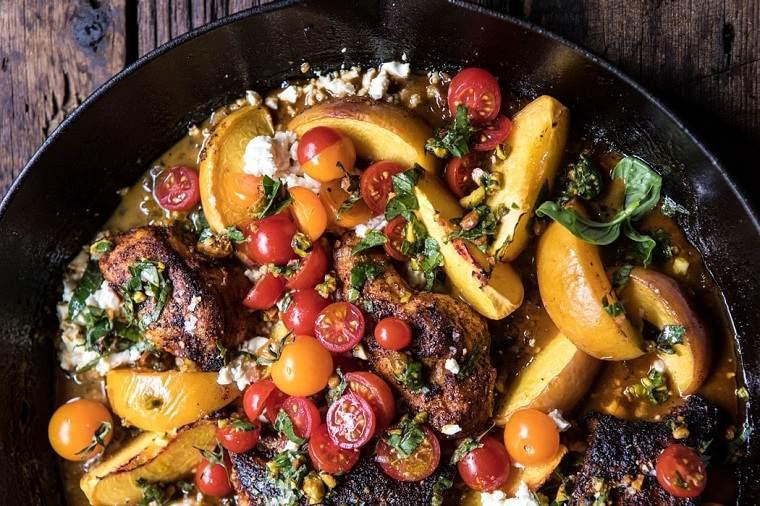 recetas con pechuga de pollo-tomato-melocoton-queso