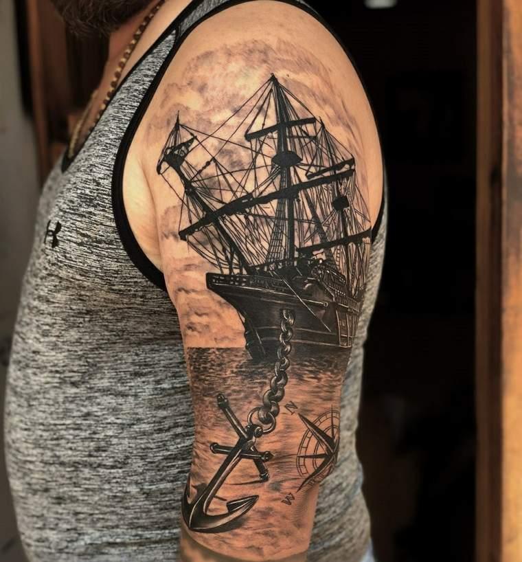 tatuaje-barco-hombro-opciones-originales