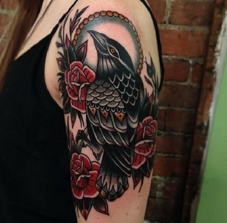 tatuajes neo-tradicionales-cuervo