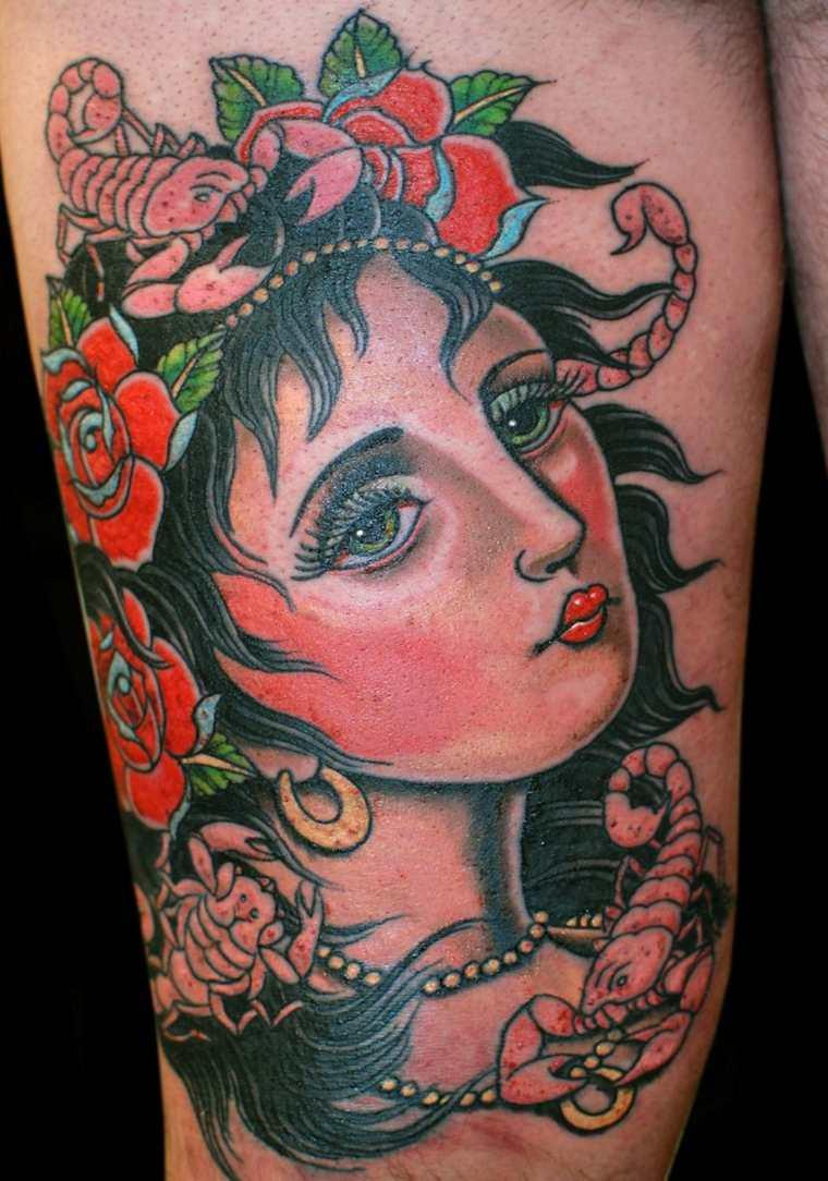 tatuajes neo-tradicionales-gitana