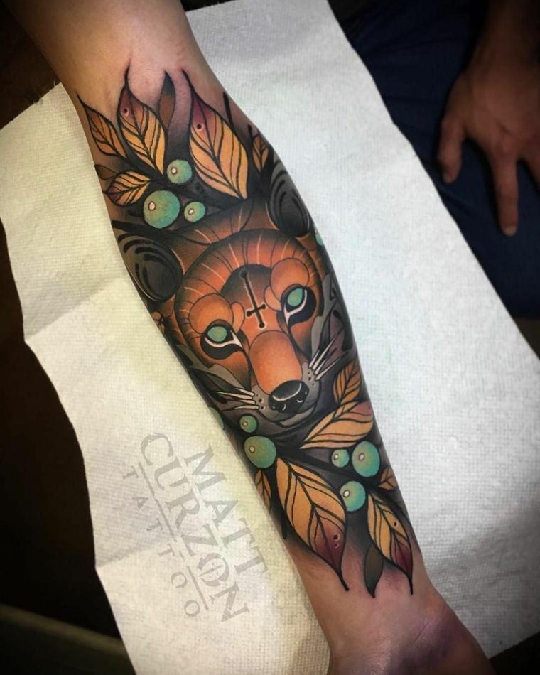 tatuajes neo-tradicionales-zorro