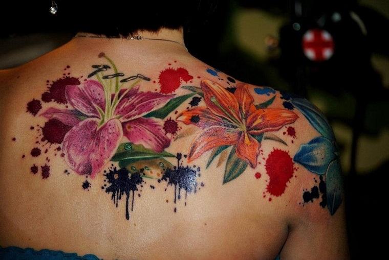tatuajes para el hombro-acuarela-flores