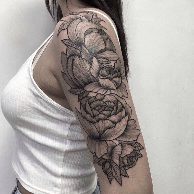 tatuajes para el hombro-flores-grandes