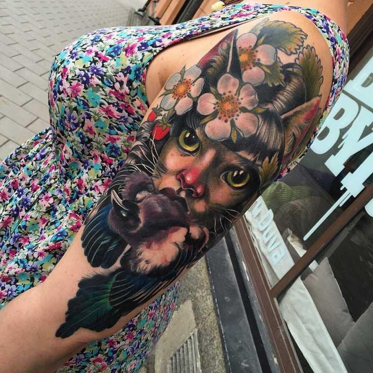 tatuajes para el hombro-gato-flores
