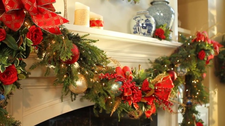 adornos navidenos-decorar-chimenea