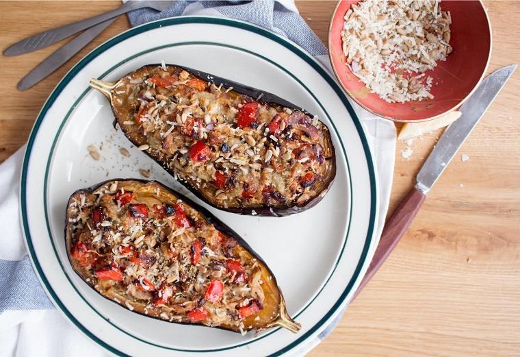 berenjenas rellenas de atún-receta-opciones-comida-cena
