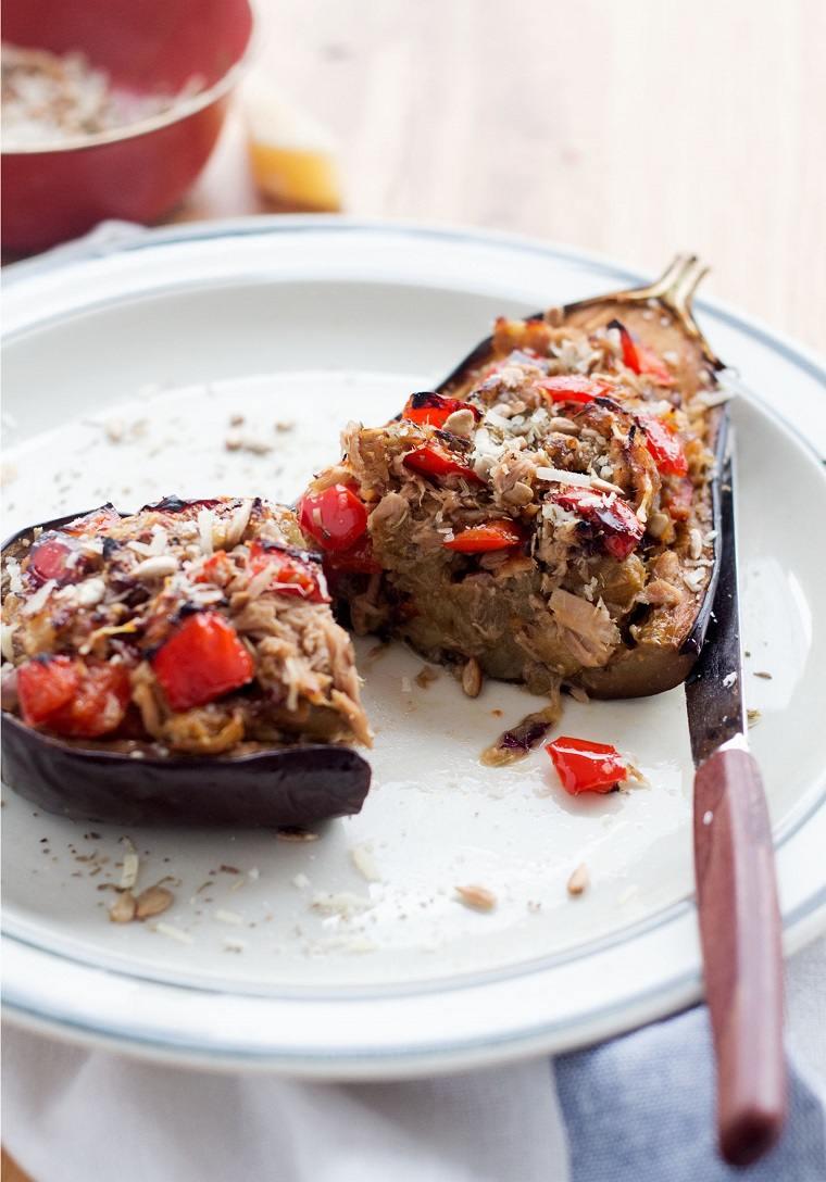 berenjenas rellenas de atún-receta-opciones-verduras