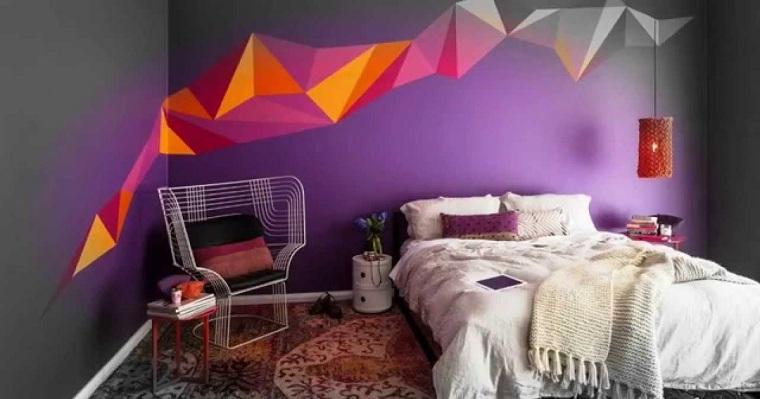 diseño de cuartos pintados-gris-purpura