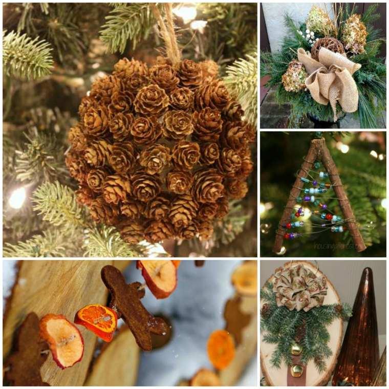Temas de Navidad con adornos naturales