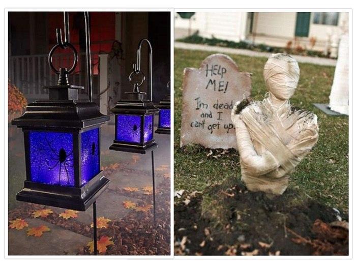 fiesta de halloween decorado cementerio