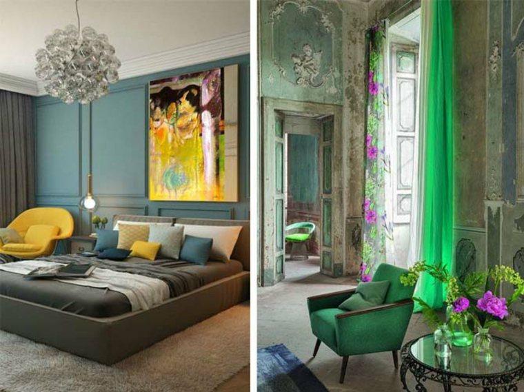 Diseño ecológico y eclecticismo en apartamentos modernos muy cerca el uno del otro
