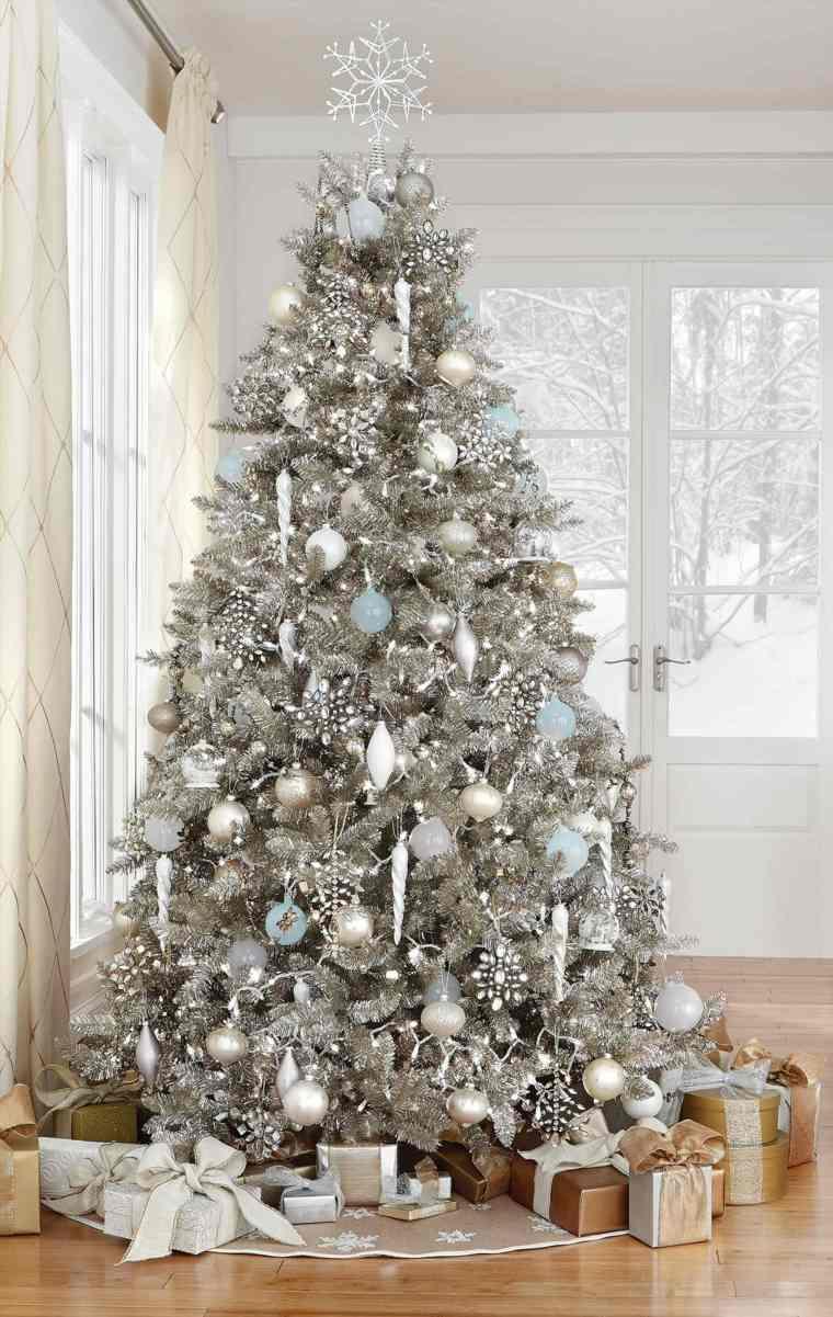 ideas para decorar el arbol de navidad-blanco
