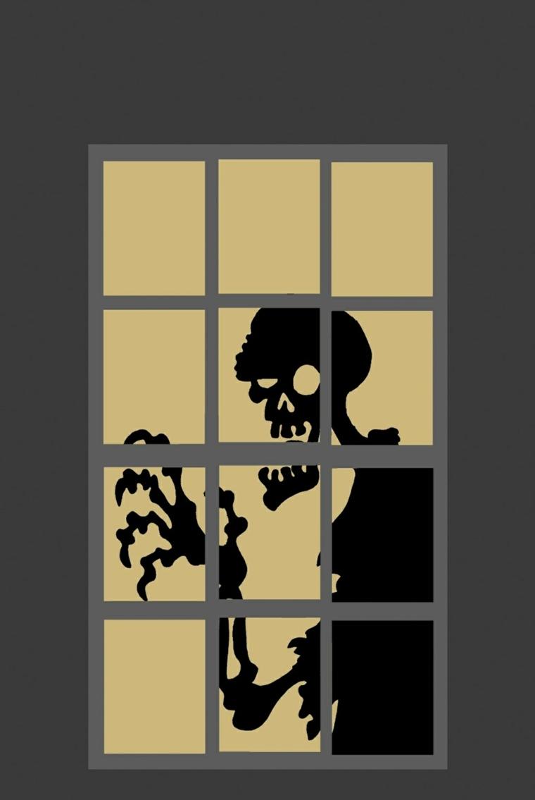 ideas para halloween-ventana-esqueleto