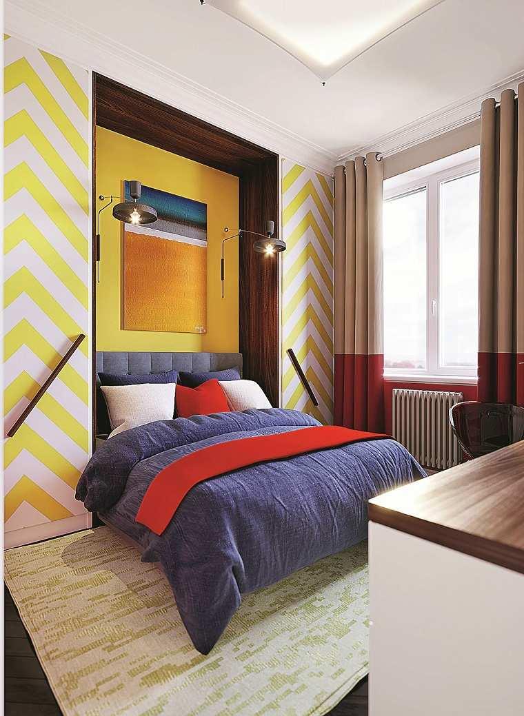 ideas-rayas-amarillas-pared-blanca-dormitorio