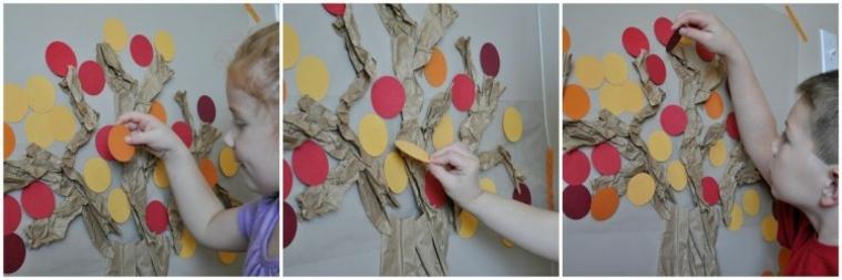 manualidades fáciles para niños árbol-pasos