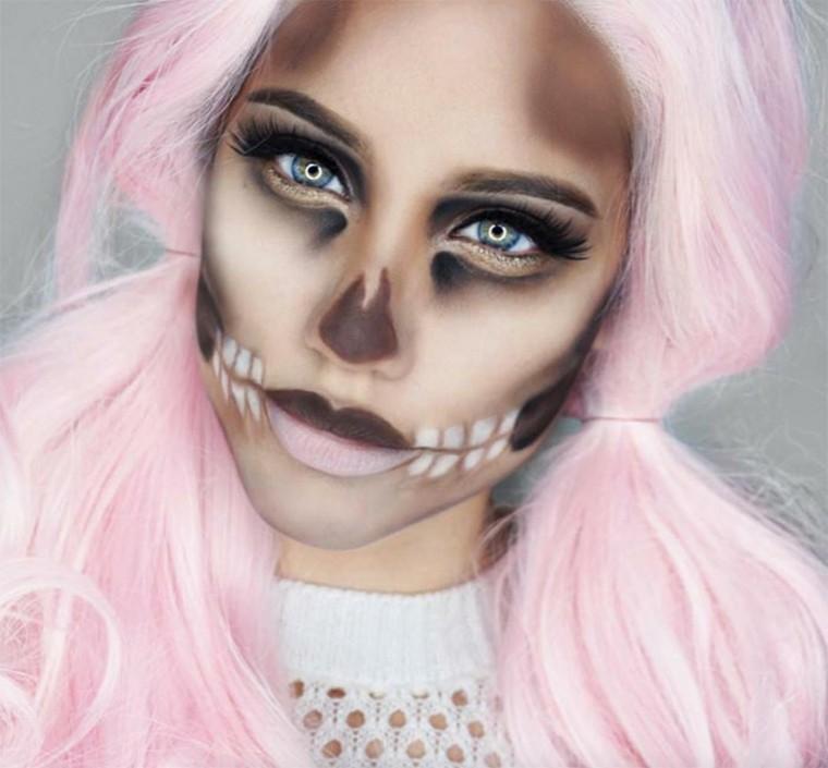 maquillaje-de-Halloween-calavera-suave