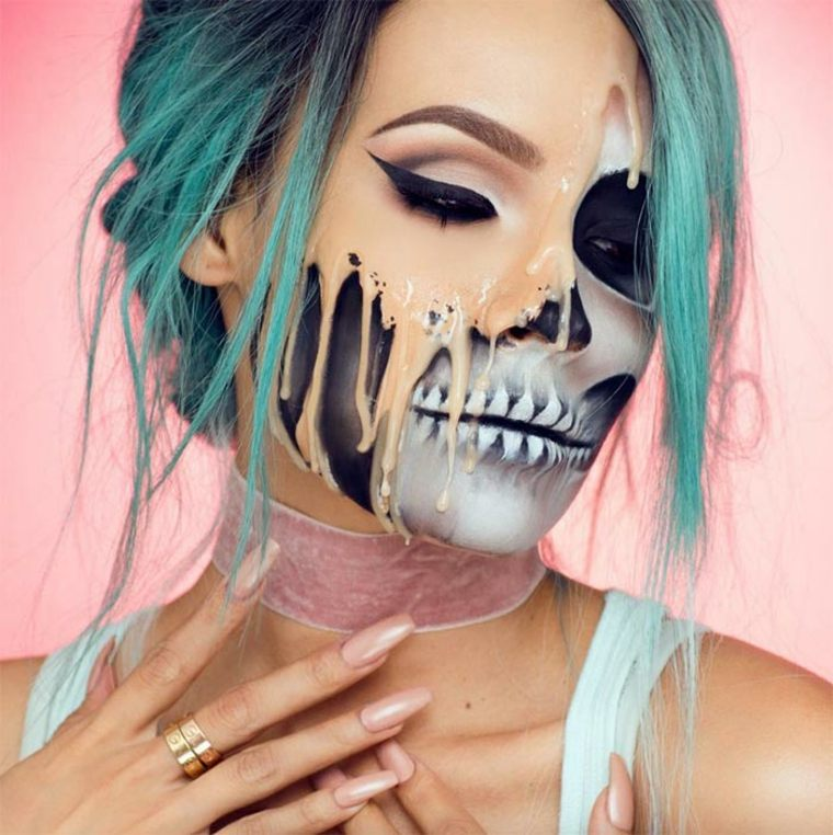 maquillaje-de-Halloween-media-calavera