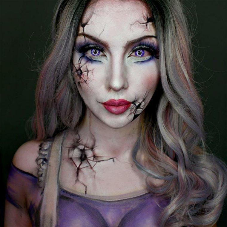 maquillaje-de-Halloween-muñeca-rota