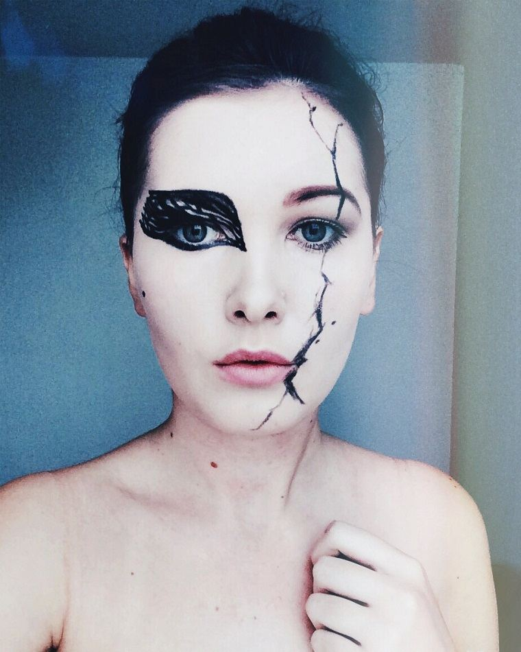 maquillaje-de-halloween-cisne-