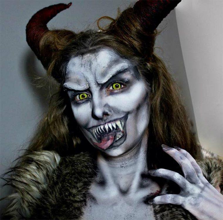 maquillaje para Halloween Krampus