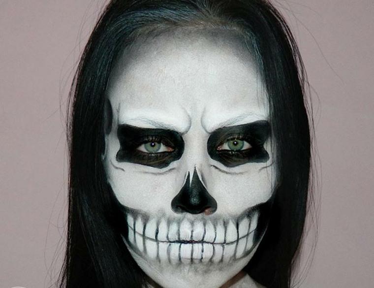 maquillaje-para-Halloween-calavera-blanco-y-negro