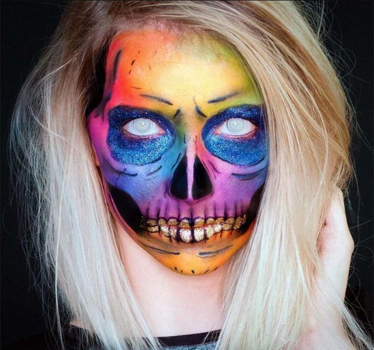 maquillaje para Halloween calavera-brillante