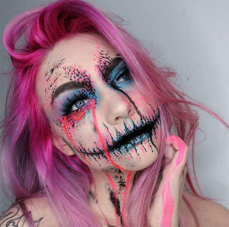 maquillaje-para-Halloween-calavera-rosa