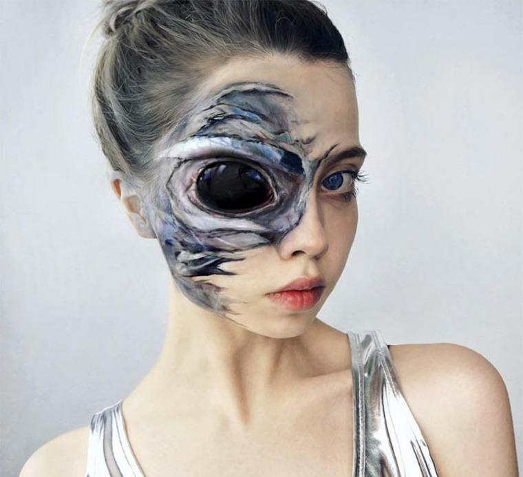 maquillaje para Halloween extraterrestre